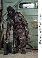 espía, terrorista, maletín, máscara, esquí, o