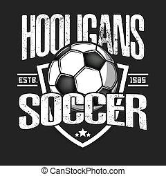 espírito, hooligans, logo., futebol