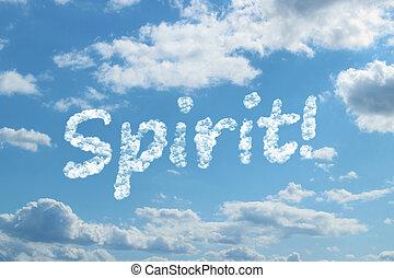 espírito, palavra, ligado, nuvem