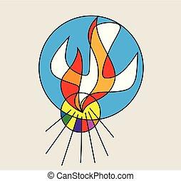 espírito sagrado, fogo, linha, logotipo