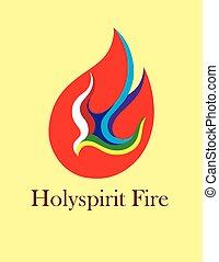 espírito sagrado, fogo, logotipo