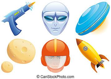 espaço, ícones