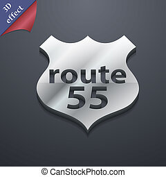 espaço,  55, texto, rota, modernos, Símbolo,  rastrized,  trendy, desenho,  3D, estilo, seu, Rodovia, ícone
