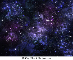 espaço, abertos, céu, estrelado
