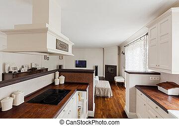 espaço, abertos, cozinha