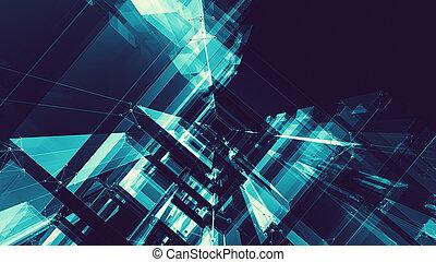 espaço, abstratos, experiência., futuro, tecnologia, concept., futurista