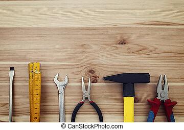 espaço cópia, de, trabalho, ferramentas, ligado, madeira