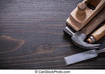 espaço cópia, imagem, de, carpenter?s, ferramentas, ligado, vindima, tábua madeira, co