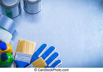 espaço cópia, imagem, de, construção, pintura, ferramentas, ligado, metálico, backgro