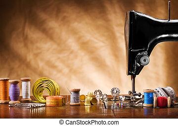 espaço cópia, imagem, de, cosendo, ferramentas
