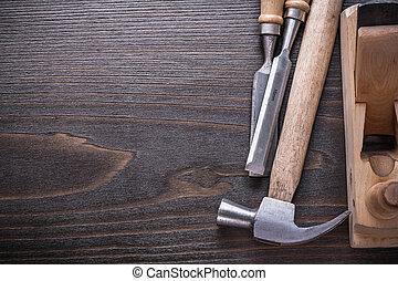 espaço cópia, imagem, de, joiner?s, ferramentas, ligado, vindima, tábua madeira, const