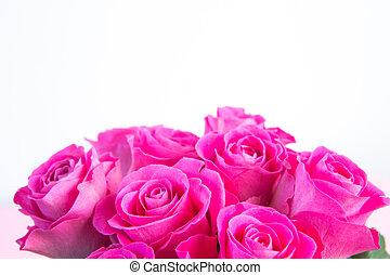 espaço cópia, rosas, buquet, cor-de-rosa