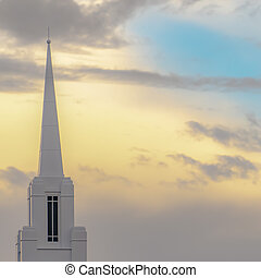 espaço, campanário, céu, atrás de, igreja, cópia