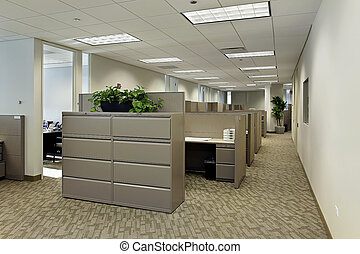 espaço escritório, com, cubículos
