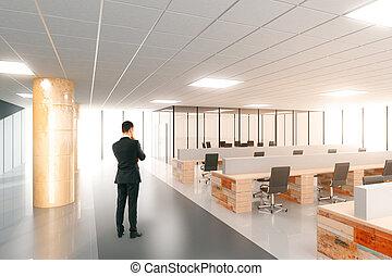 espaço escritório, modernos, homem negócios, abertos, ...