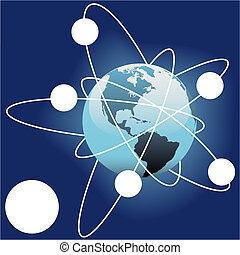 espaço exterior, órbita, copyspaces, satelite, terra, cópia