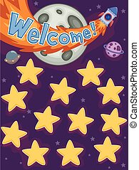 espaço exterior, estrela, tábua, nome