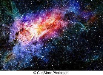espaço exterior, estrelado, nebulosa, profundo, galáxia