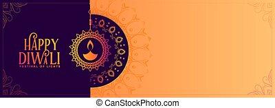 espaço, feliz, elegante, bandeira, diwali, texto