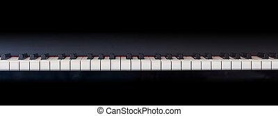 espaço, frente, teclado, vista, piano, cópia