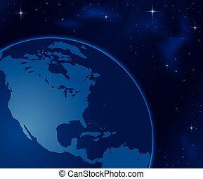 espaço, -, ilustração, planeta, vetorial, terra