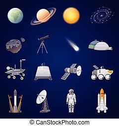 espaço, jogo, exploração, ícones, apartamento