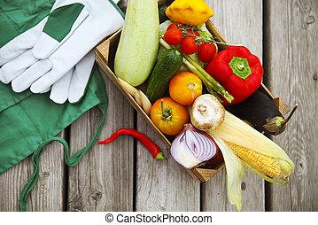 espaço, legumes, agricultores, frutas, fresco, cópia, mercado