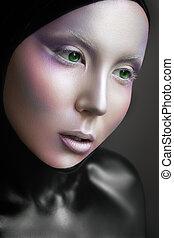 espaço, menina, com, prata, compor, e, pretas, colorido, body., estrangeiro, moda, look.