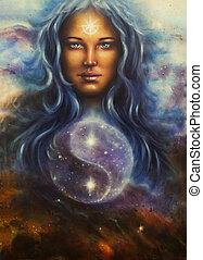 espaço, mulher, deusa, lada, como, um, poderoso, amando,...