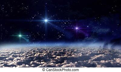 espaço, noturna, cor, estrelas