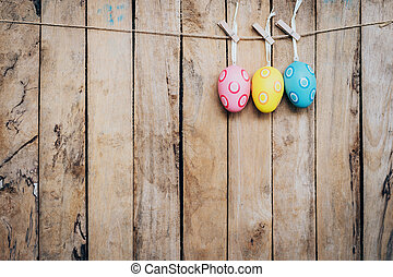 espaço, ovo, madeira, fundo, penduradas, páscoa