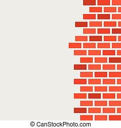 espaço, parede, texto, livre, brickwork., vermelho