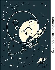 espaço, planetas, foguete, retro