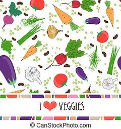 espaço, texto, legumes, cercado, receita, modelo, fresco,...
