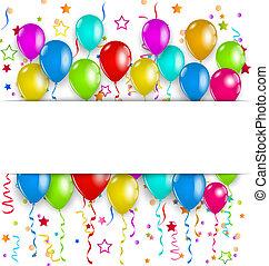 espaço, texto, partido, confetti, balões, colorido