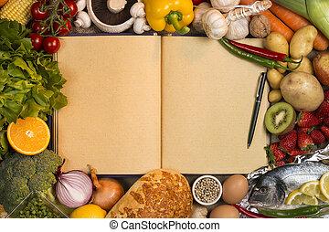 espaço, texto, -, receita, alimentos, livro, grampo