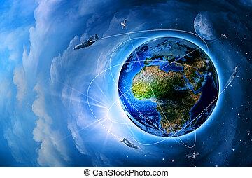 espaço, transporte, e, tecnologias, em, futuro, abstratos,...