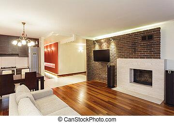 espaçoso, apartamento, -, interior
