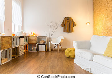 espaçoso, cozy, sala de estar, perfeitos, para, descanso,...