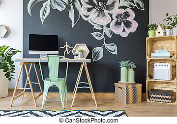 espaçoso, modernos, estudo, escritório lar