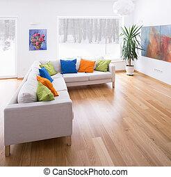 espaçoso, sala de estar