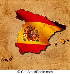españa, mapa, con, bandera