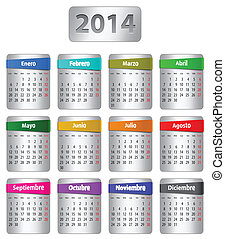 español, calendario, 2014