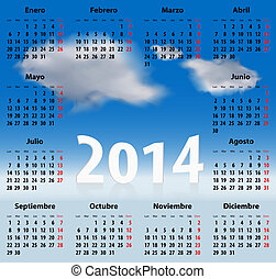 español, calendario, 2014, nubes, cielo