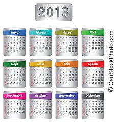 español, calendario, para, 2013
