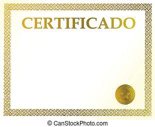 español, certificado, blanco