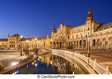español, cuadrado, de, sevilla, españa