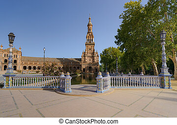 español, cuadrado, en, sevilla, el, plaza, de, españa, españa