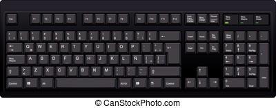español, qwerty, la, computadora, negro, teclado