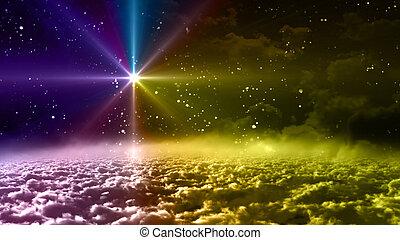 espace, étoile, coloré, nuit